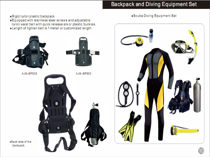 Backpack and Diving Equipment Set